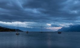 Leman lake at wind Royalty Free Stock Photography