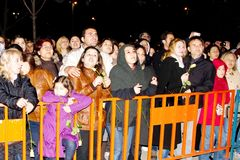 Leman Sam fans. Cheer during a concert dedicated to the International Women's Day at Maltepe open air stage on May 8, 2011 in Istanbul, Turkey Royalty Free Stock Photos