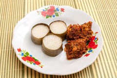 Lemang & Rendang ready to eat on Eid Festival. Lemang is a traditional Indonesian, Malaysian, Singaporean food and made of glutinous rice, coconut milk and salt Royalty Free Stock Image
