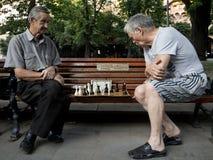 LEMBERG, UKRAINE - 19. AUGUST 2015: Alte Männer, die Schach auf einer Bank in einem Park von Lemberg spielen Lizenzfreie Stockfotografie