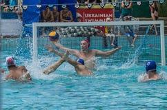 LEMBERG, UKRAINE - JUNI 2019: Athleten im Pool, das Wasserball spielt lizenzfreie stockfotos