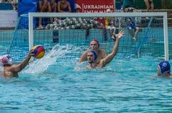 LEMBERG, UKRAINE - JUNI 2019: Athleten im Pool, das Wasserball spielt stockbilder