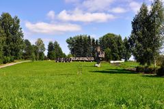 Lembolovo gräns, monument till segern. St Petersburg, Arkivfoto