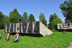 Lembolovo gräns, monument till segern. St Petersburg, Arkivbild