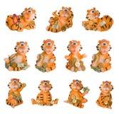 Lembrança feliz da decoração do tigre isolada Imagens de Stock Royalty Free