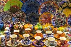 Lembranças de Istambul na feira grande, Turquia Fotografia de Stock