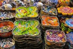 Lembranças de Istambul na feira grande, Turquia Imagens de Stock