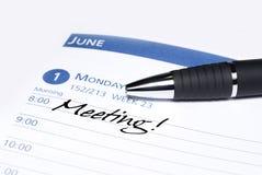 Lembrete da reunião do calendário Imagens de Stock Royalty Free
