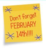 Lembrete do dia de Valentim - nota pegajosa, o 14 de fevereiro Fotos de Stock Royalty Free