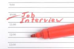 Lembrete para Job Interview Fotografia de Stock