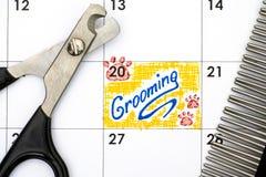 Lembrete que prepara no calendário com tosquiadeira e pente de prego Imagem de Stock Royalty Free