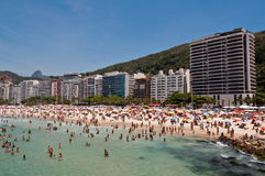 Leme and Copacabana beach in Rio de Janeiro Royalty Free Stock Photography