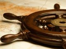 Leme e mapa da navegação Foto de Stock Royalty Free