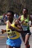 Lemi Berhanu Hayle beat defending champ Lelisa Desisa in the men's race with as time of 2:12:45 Stock Photos