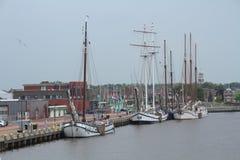 Lemmer the Netherlands. Yachts moored in the harbor at Lemmer Holland Stock Image