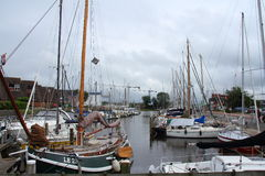 Lemmer the Netherlands. Yachts moored in the harbor of the town Lemmer in Holland Stock Image