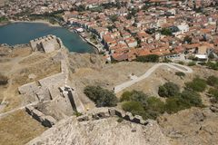 Lemnos island old castle view on city Myrina. Lemnos island Limnos, Myrina city bay view from old castle. Aegean Regatta 2016 stop point royalty free stock image