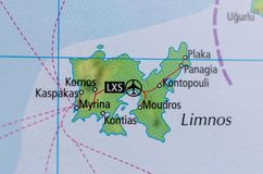 Lemnos on map. Close up shot of Lemnos. is a Greek island in the northern part of the Aegean Sea Stock Photography