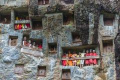 Lemo塔娜Toraja,南苏拉威西岛,印度尼西亚,有在洞安置的棺材的著名掩埋处被雕刻入岩石,守卫由ba 库存照片