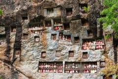 Lemo jest falezy miejsce pochówku w Taniec Toraja, Południowy Sulawesi, Indonezja Zdjęcia Stock