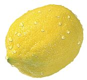 Lemon. With drops royalty free stock images
