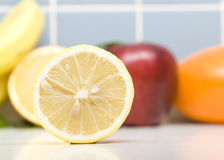 Lemon. A Lot Of Fruits in Kitchen Stock Image
