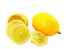 Lemon. Fresh juicy lemon isolated on a white background Stock Photography