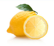Lemon. With slice and leaf Royalty Free Stock Photo