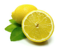 Lemon. S with leaves isolated on white background with shadow stock photos