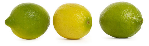 Lemon. Three lemons, green and yellow fruits Stock Photography