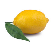 Lemon. With leaf on a white background Stock Photo