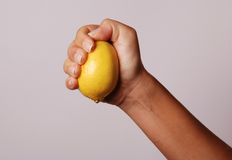 Lemon. The fresh lemon in a hand Royalty Free Stock Photography
