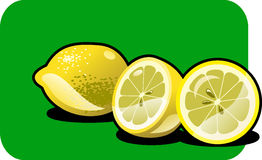 Lemon. Color illustration of a lemon. Part of my vector fruit Collection. The vector file is in AI-EPS8 format Stock Photo