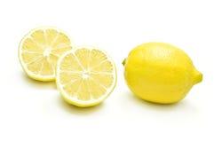Lemon. Full lemon and slices of lemon on white background Stock Photo