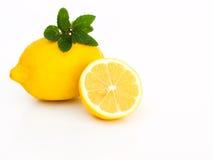 Lemon. Close up on lemon and mint Stock Photography