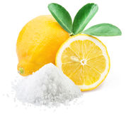 Lemon acid and lemon fruits. Stock Photos