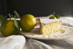 Lemon almond cake. Piece of lemon almond cake sprinkled with powdered sugar Stock Image