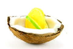 Lemon And Lime Slice In A Coconut Royalty Free Stock Photo