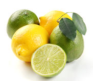 Lemon And Lime With Leaves Royalty Free Stock Photos