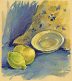 Lemon and apple. Hand painted still life, lemon and apple Stock Image