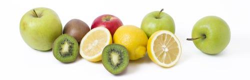 Lemon with apples and kiwi on white background. Kiwi with lemon royalty free stock image