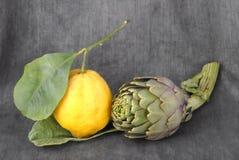 Lemon and artichoke, Stock Image
