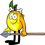 Lemon as native holding a spear Stock Photo