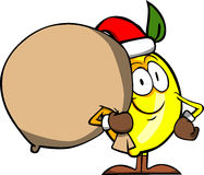 Lemon as Santa Claus with a big sack Royalty Free Stock Photo