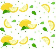 Lemon background with leaves and dots. Lemon background with leaves and dot pattern over white. Clean design of seamless lemon pattern Royalty Free Stock Photo
