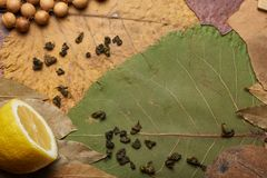 Lemon on the background of leaves and tea. Lemon on the background of leaves, tea and coconut Royalty Free Stock Photo