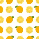 Lemon background. Seamless pattern with lemons. Flat style. Vect Royalty Free Stock Images