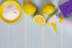 Lemon, baking soda and vinegar for eco housekeeping. royalty free stock photos