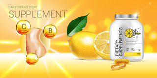 Lemon balm dietary supplement ads. Vector Illustration with Lemon supplement contained in bottle and lemon elements. Horizontal banner Royalty Free Stock Photos