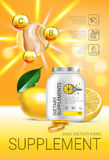Lemon balm dietary supplement ads. Vector Illustration with Lemon supplement contained in bottle and lemon elements. Vertical poster Royalty Free Stock Images
